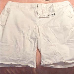 Lane Bryant Cotton White Bermuda Shorts